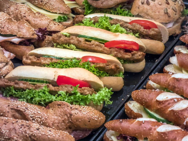 sandwich - laugenstangen stock-fotos und bilder