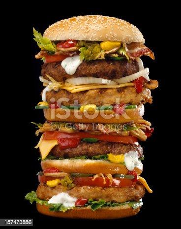 huge burger, many ingredients..