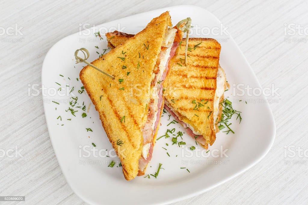 Toast Gegrilltes Sandwich mit Käse und Tomaten – Foto