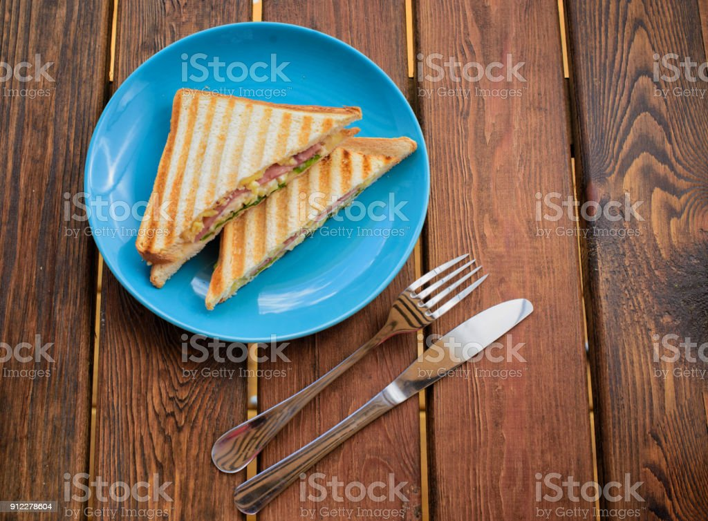 sandwich toast grilled with cheese tomatoes and ham stock photo