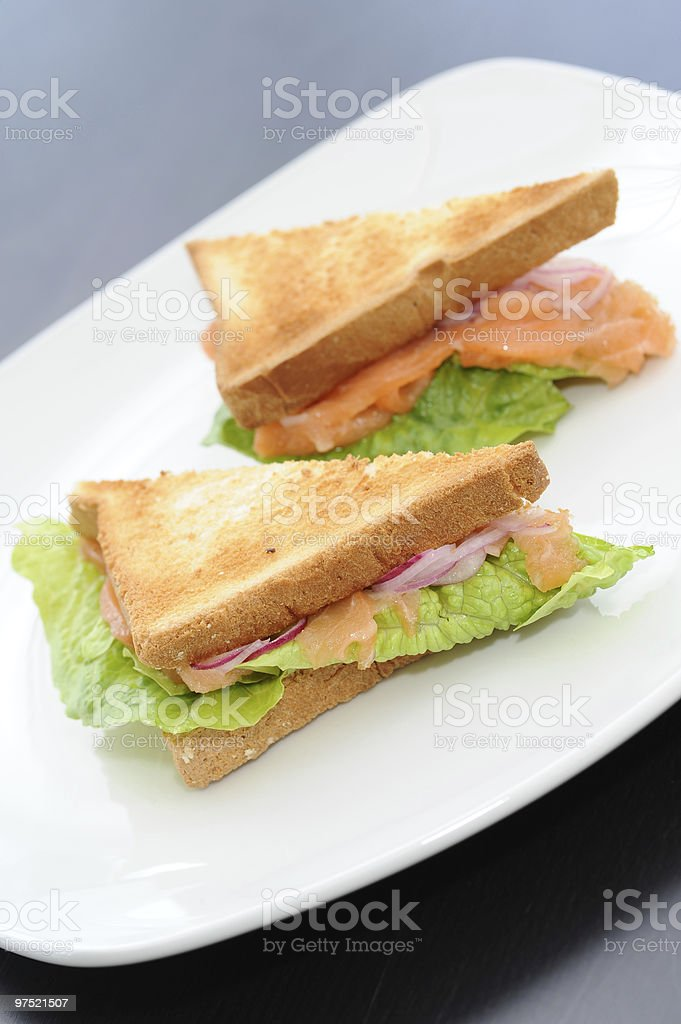 Sandwich with a salmon royalty-free stock photo