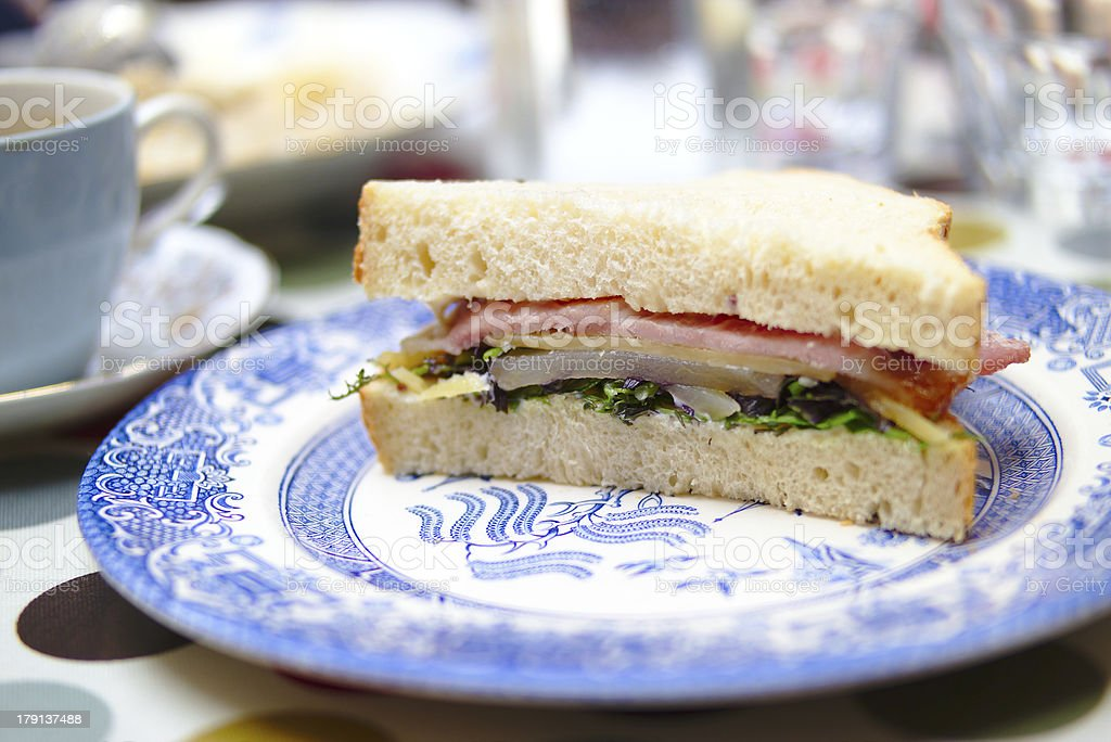 Sandwich with bacon, pear and herbs royalty-free stock photo
