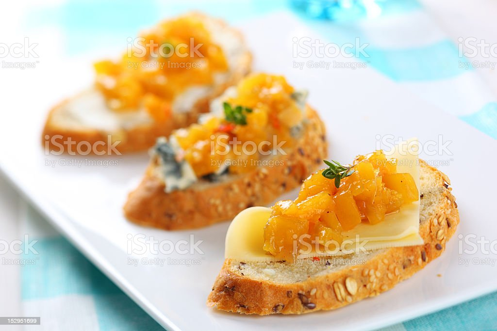 sandwich with blue cheese and mango chutney, soft focus royalty-free stock photo
