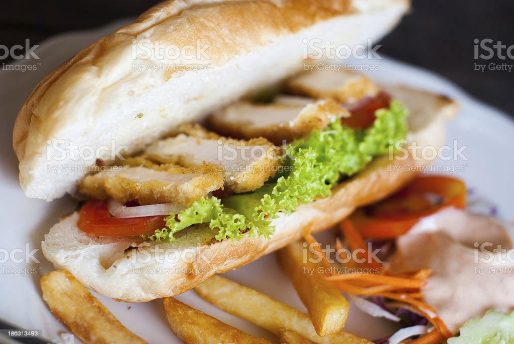 Sandwich with breaded chicken stock photo