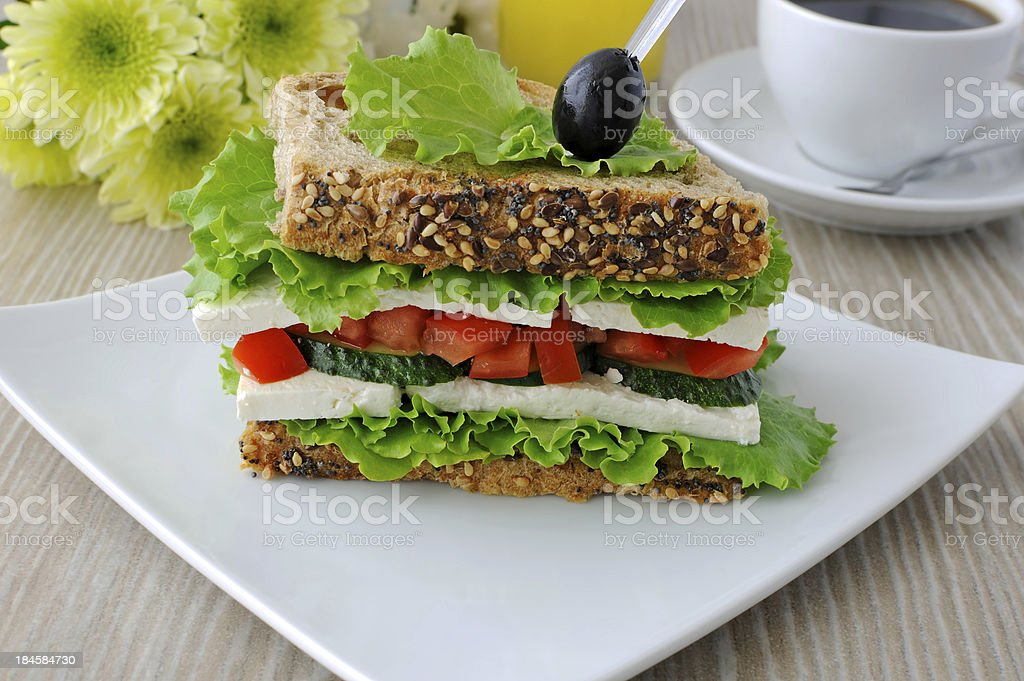 Sandwich with cheese and vegetables royalty-free stock photo