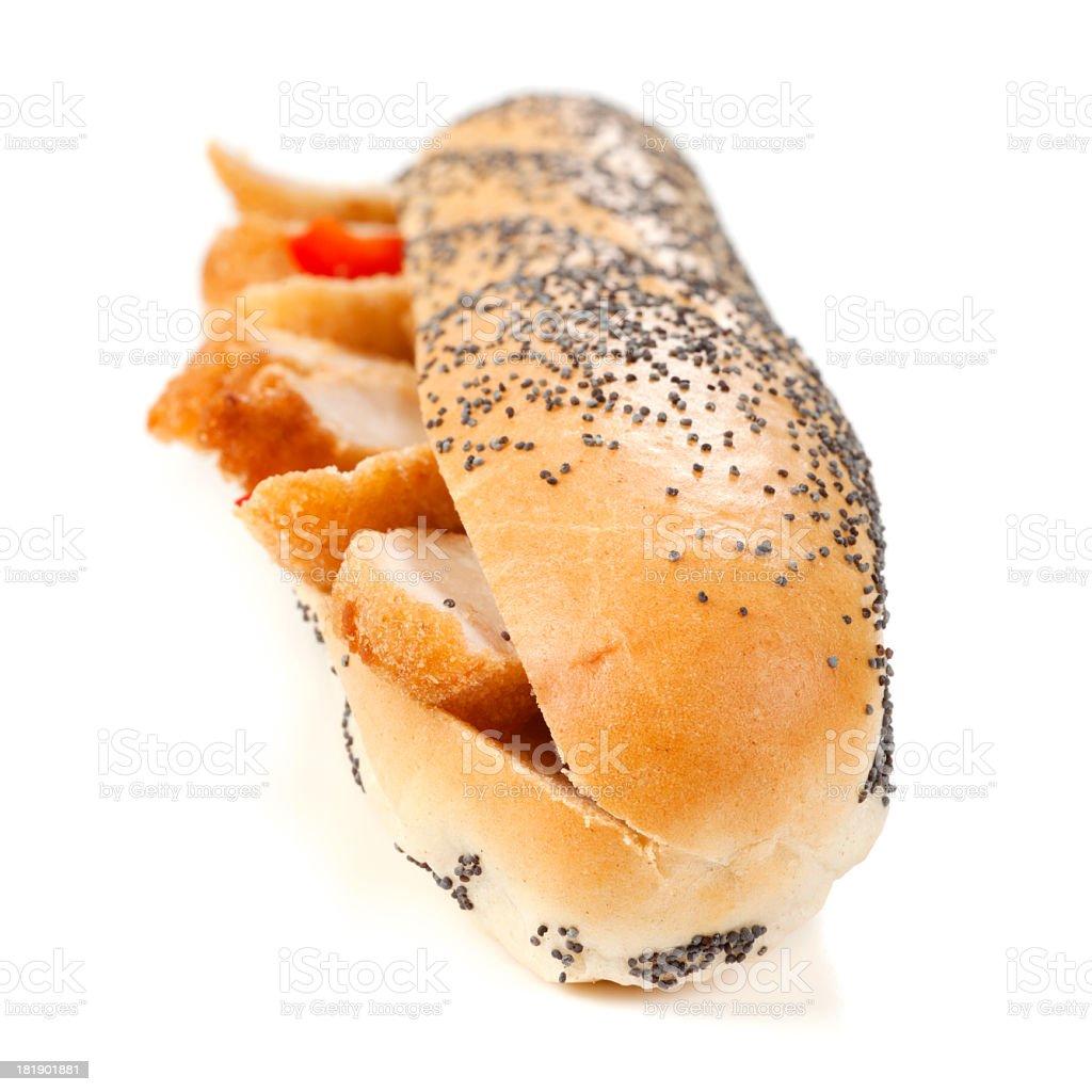 Sandwich with chicken schnitzel royalty-free stock photo