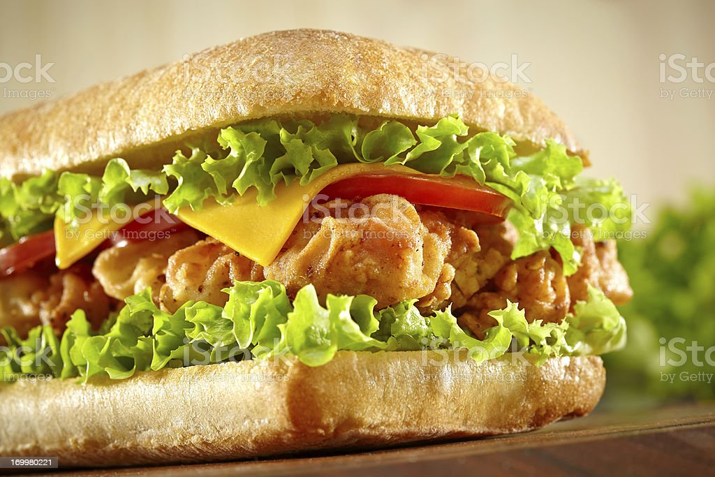 Sandwich with chicken strips stock photo