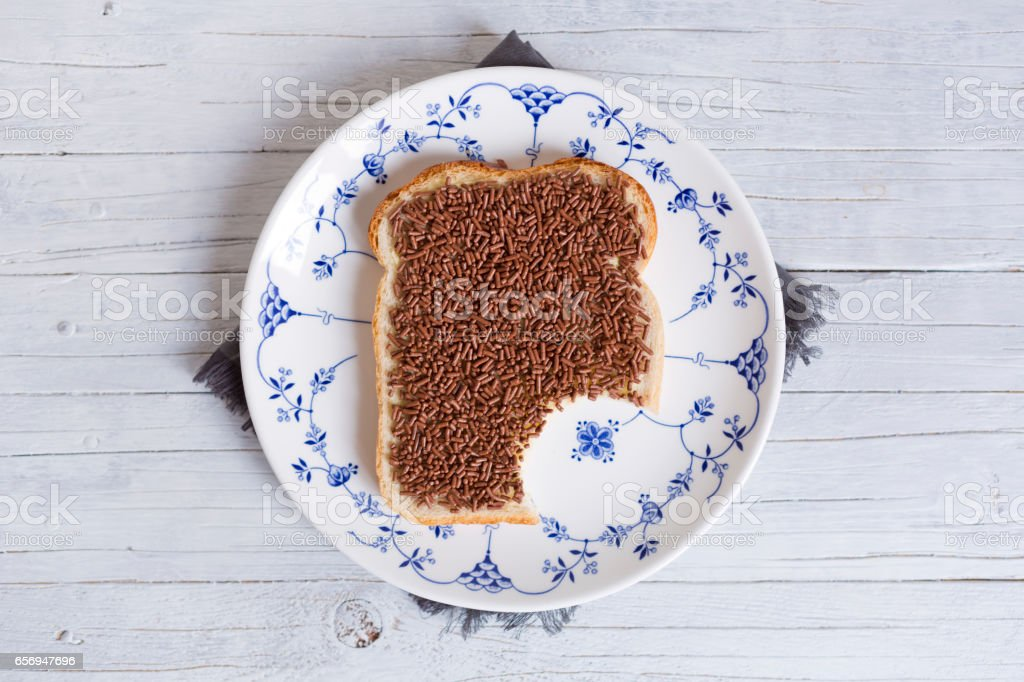Sandwich with chocolate sprinkles or 'hagelslag', Dutch traditional food stock photo