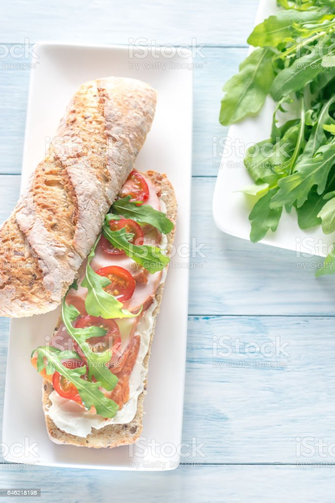 Sandwich with cream cheese and chicken stock photo