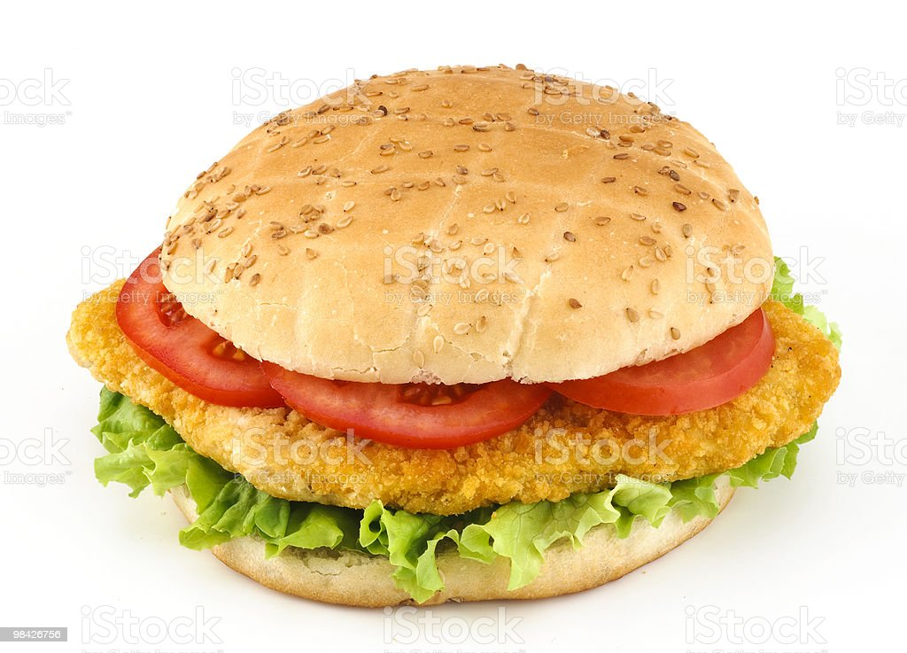 Panino con cotoletta, insalata e pomodoro royalty-free stock photo