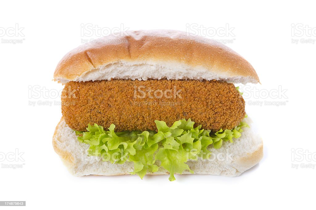 Sandwich with Dutch meat croquette ('kroket'), isolated on white​​​ foto
