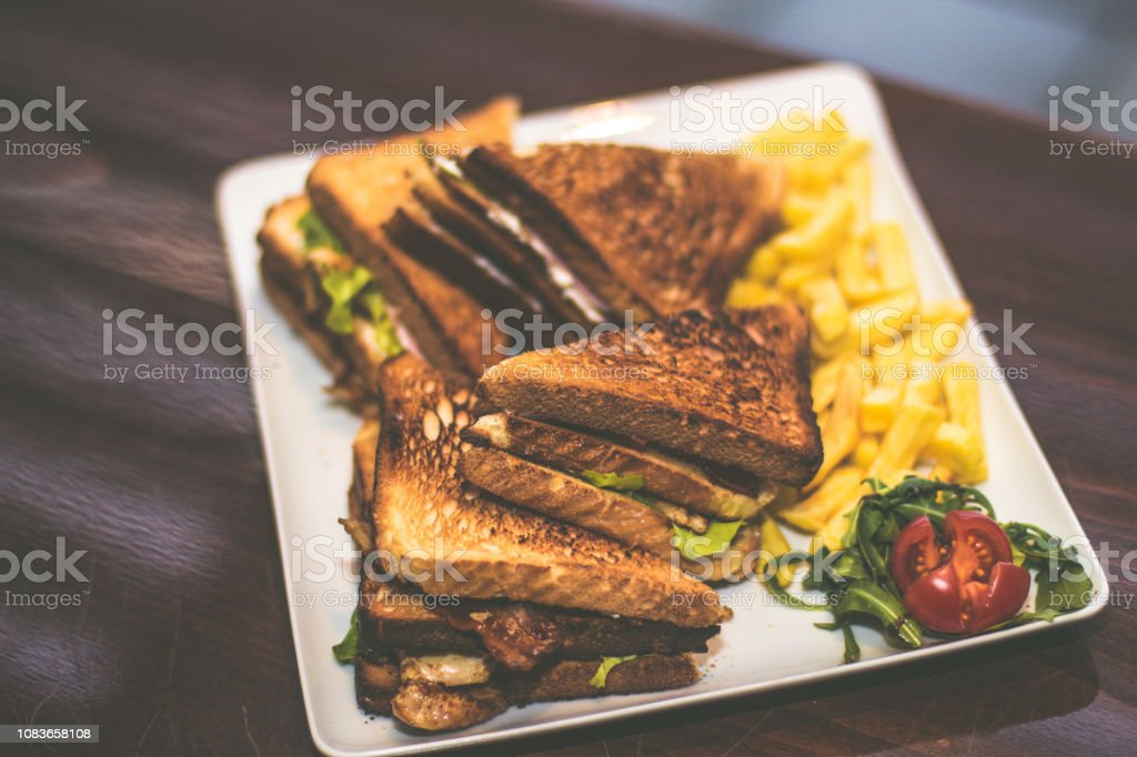 Sandwich with french fries stock photo