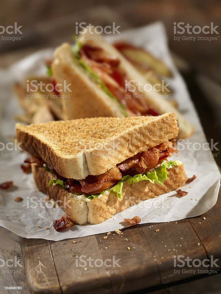 BLT Sandwich with French Fries stock photo