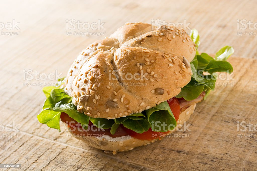 Sandwich with fresh smoked meat royalty-free stock photo