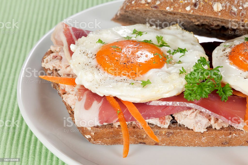 Sandwich with fried eggs royalty-free stock photo