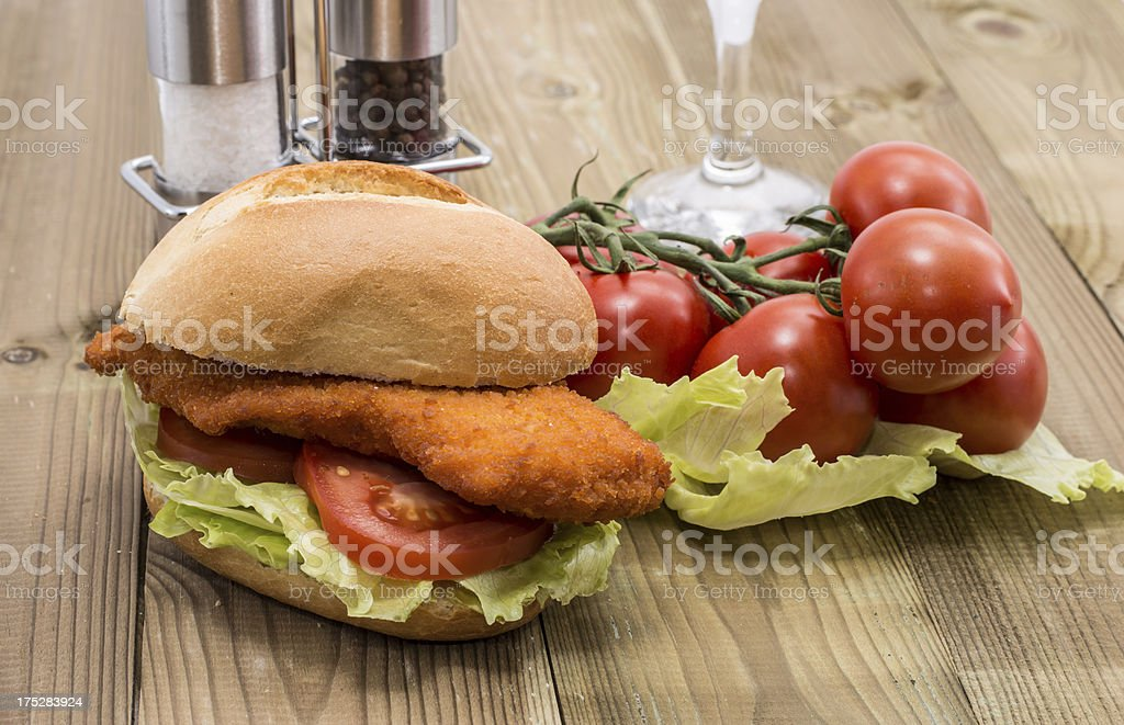 Sandwich with fried meat royalty-free stock photo