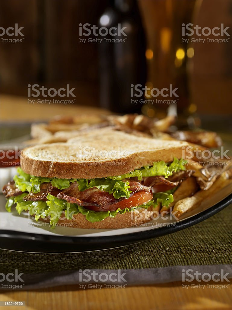 BLT Sandwich with Fries and a Beer stock photo