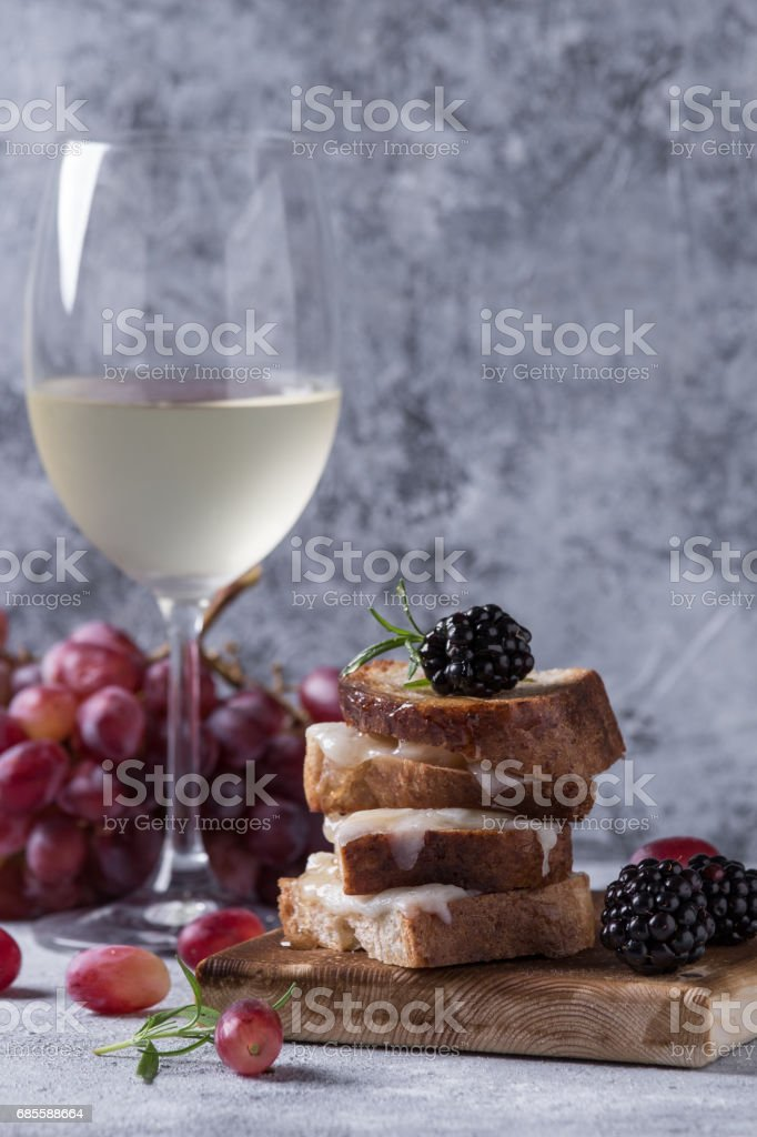 Sandwich with goat cheese and berries royalty-free stock photo