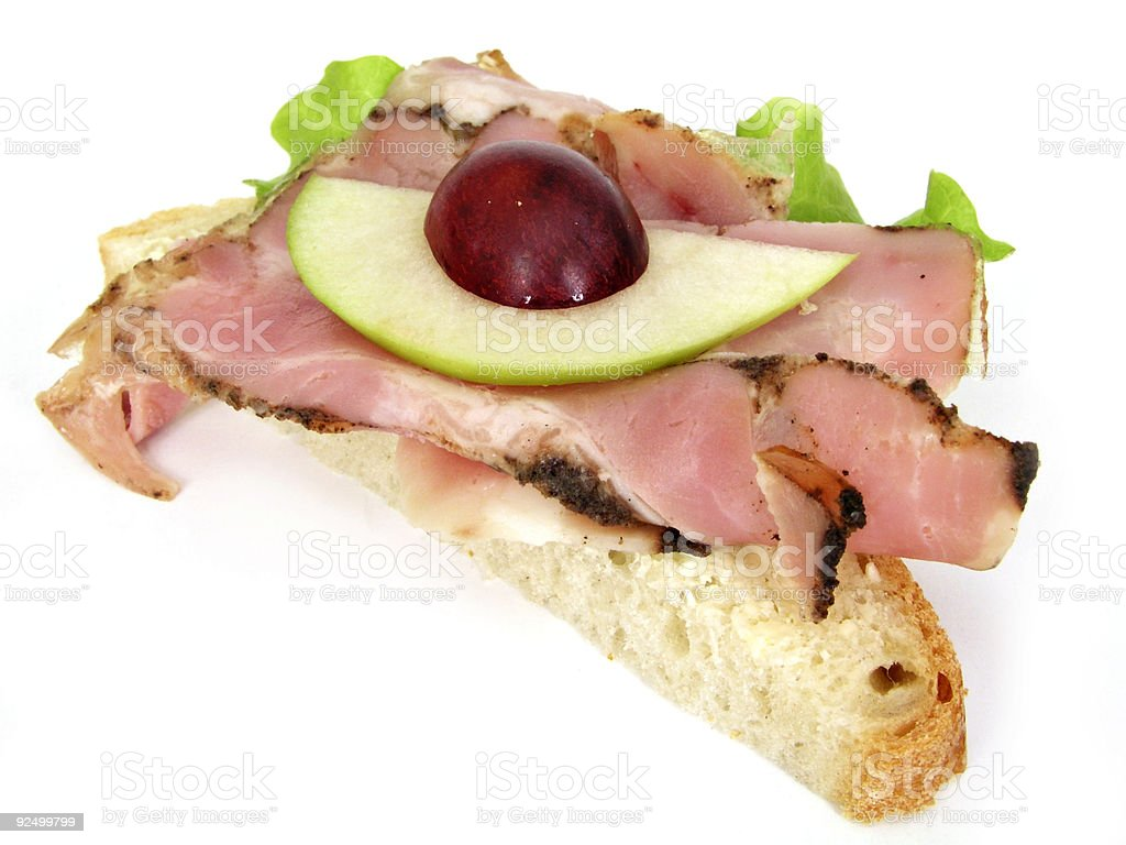 Sandwich with ham and fruit royalty-free stock photo