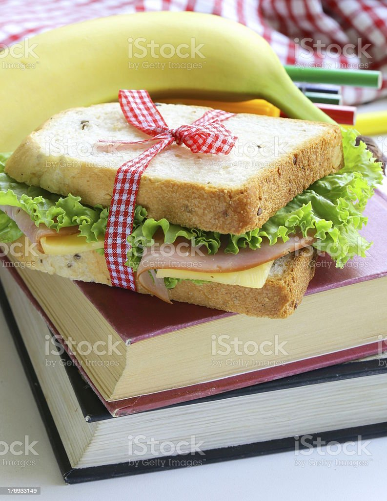 sandwich with ham, apple, banana and granola bar royalty-free stock photo