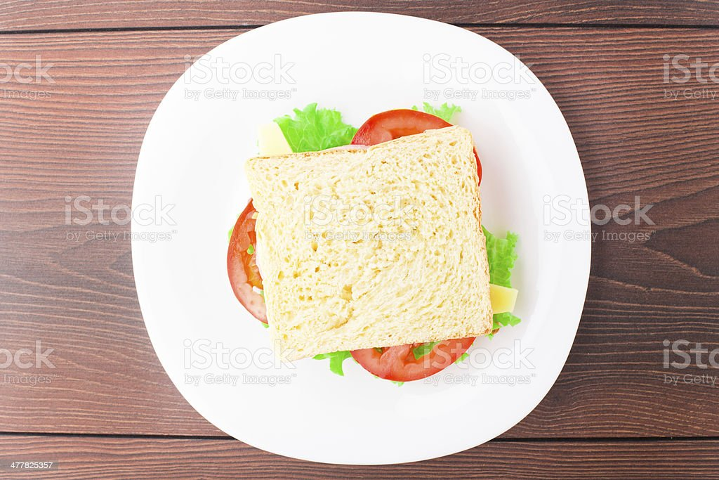 Sandwich with ham, cheese and tomato royalty-free stock photo