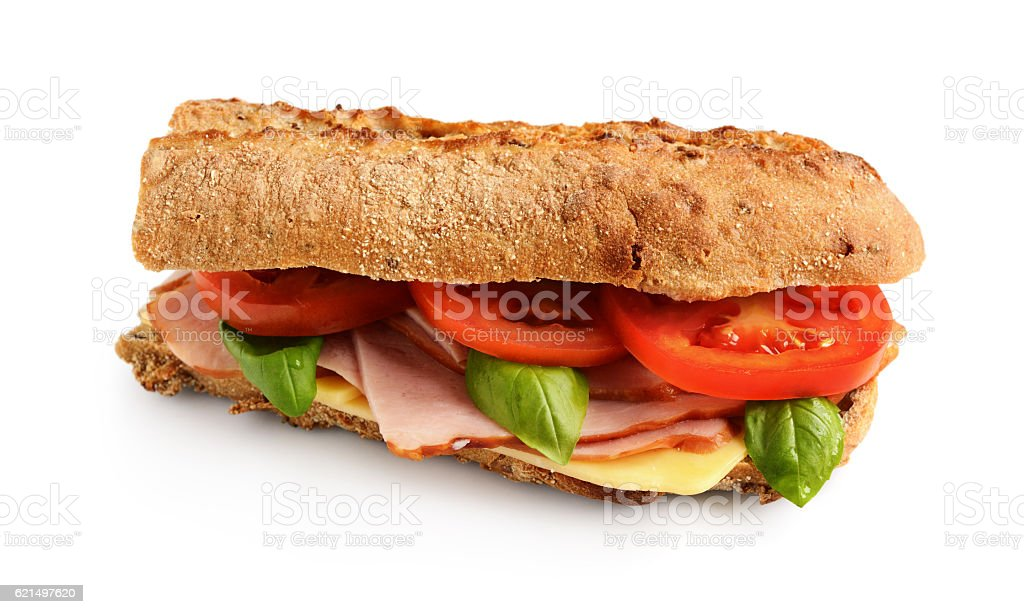 Sandwich with ham, tomato, cheese and basil photo libre de droits
