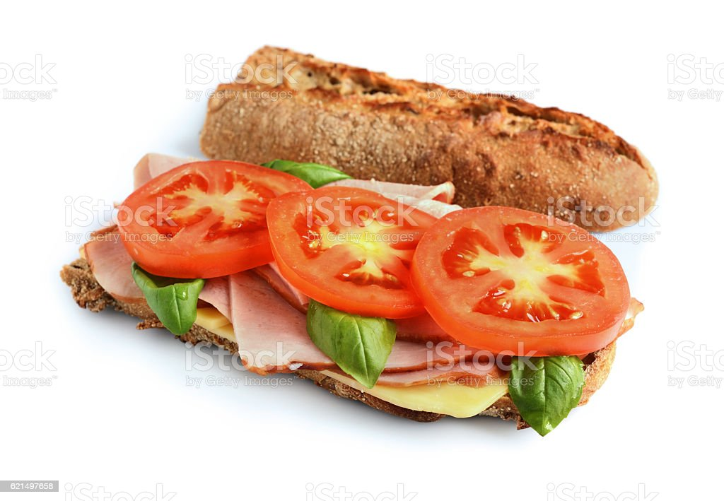 Sandwich with ham, tomato, cheese and basil foto stock royalty-free