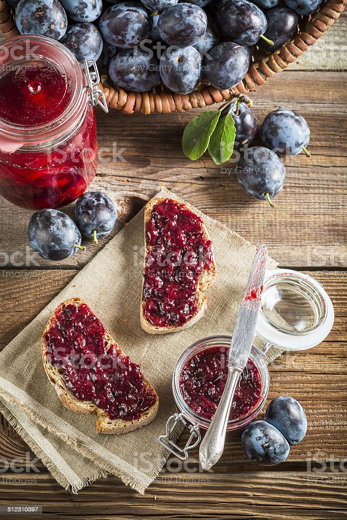 Sandwich with homemade plum jam stock photo