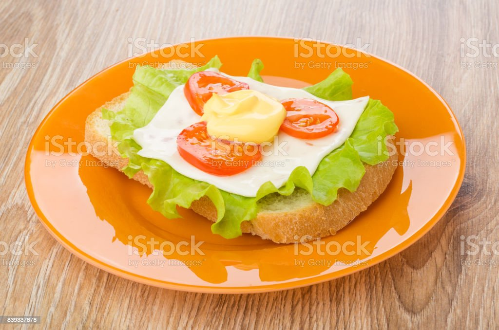 Sandwich with lettuce, cheese and tomato in plate on table stock photo