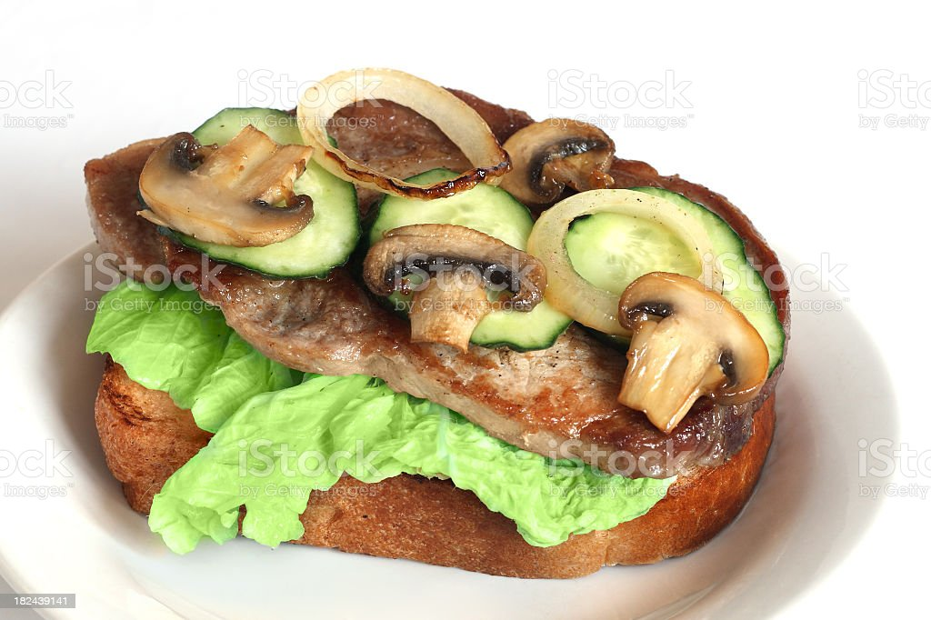 sandwich with meat and mushrooms royalty-free stock photo