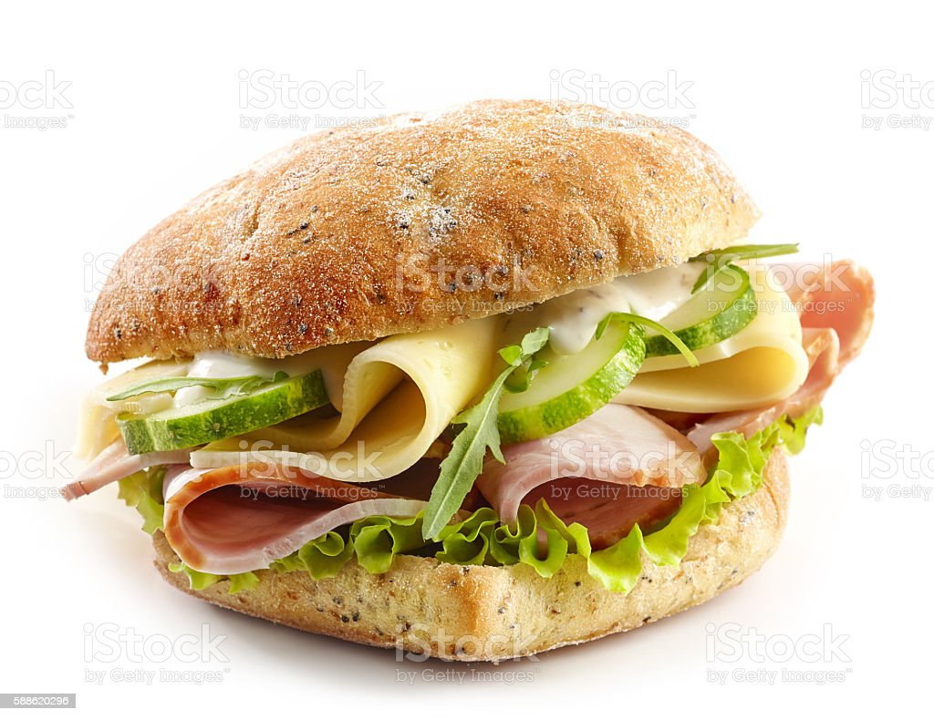 sandwich with meat, cheese and vegetables stock photo