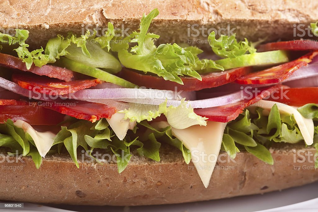 sandwich with meat,vegetables and cheese royalty-free stock photo