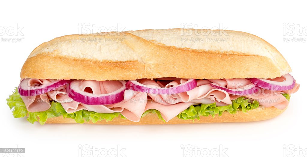 sandwich with mortadella and red onion stock photo