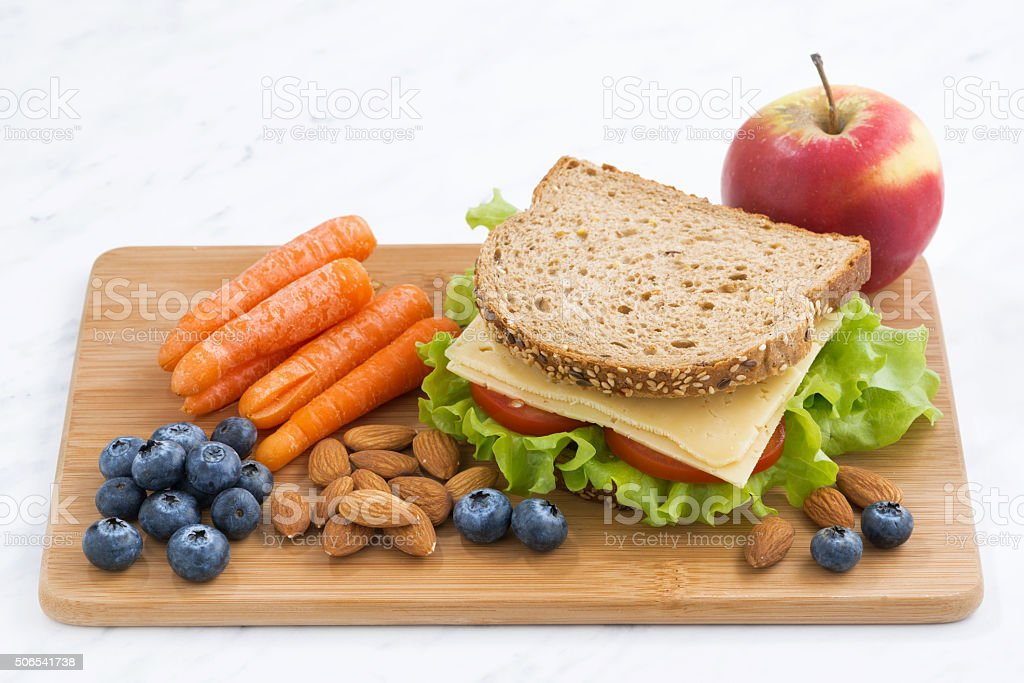 sandwich with of wholemeal bread on the school lunch stock photo