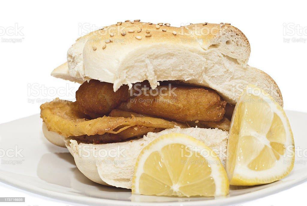 Sandwich con panelle e crocchette - foto stock
