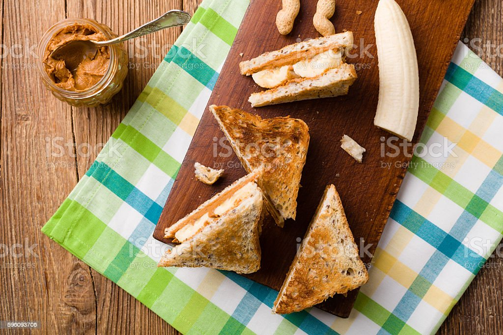 sandwich with peanut butter and banana royalty-free stock photo