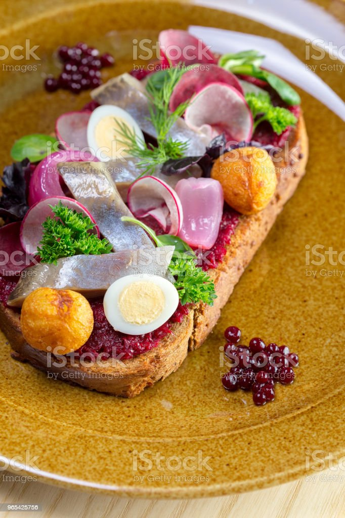 三明治配醃鯡魚片 - 免版稅Smorrebrod圖庫照片