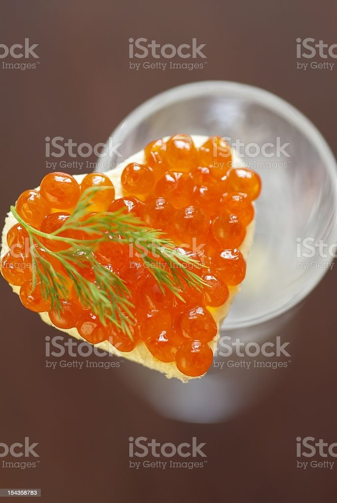 Sandwich with red caviar royalty-free stock photo