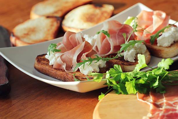 sandwich with ricotta, prosciutto - parma jambonu stok fotoğraflar ve resimler