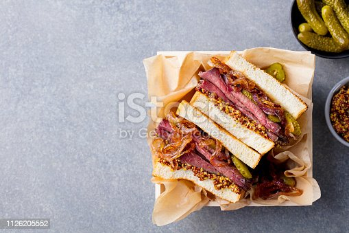 Sandwich with roast beef in wooden box. Top view. Copy space