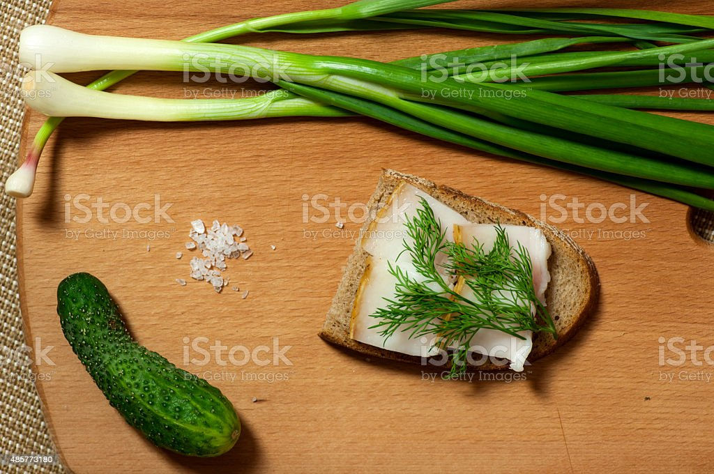 Sandwich with salted lard on rye bread view from above stock photo