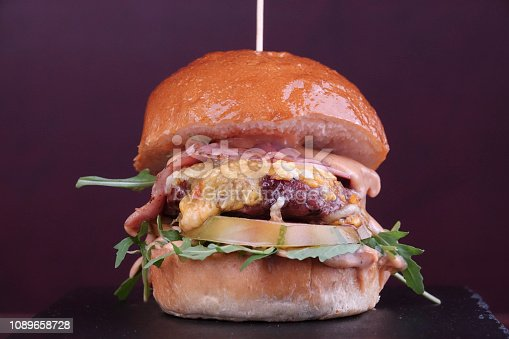 Sandwich with sausage burgers and ingredients