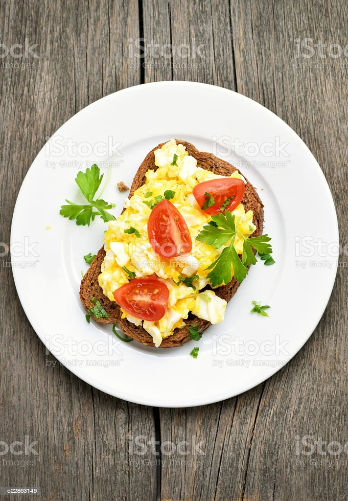 Sandwich with scrambled eggs stock photo