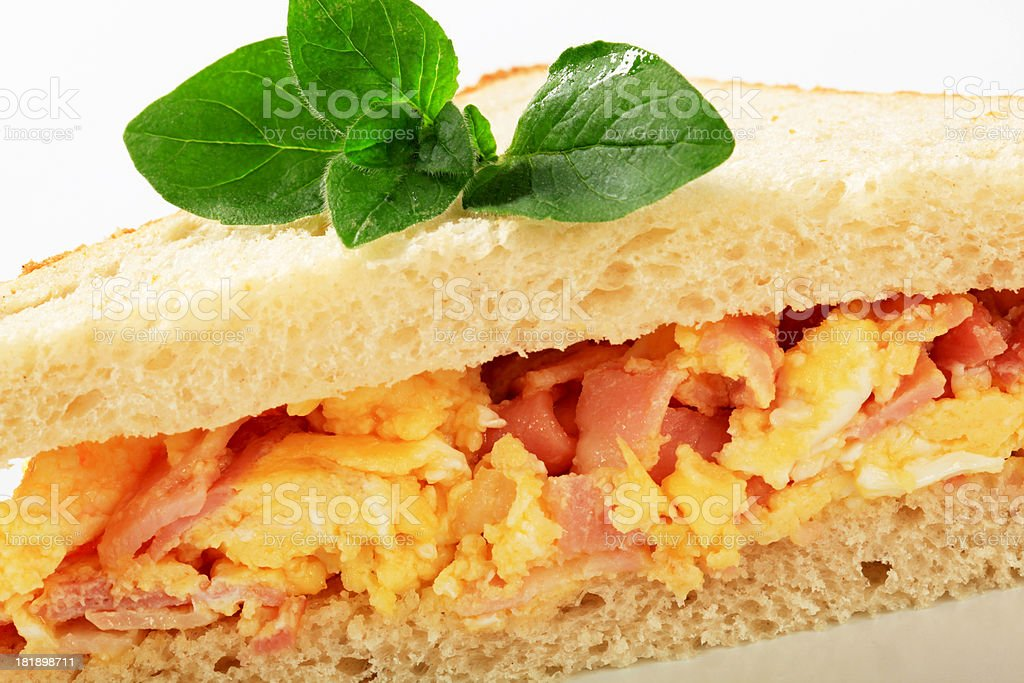 sandwich with scramled eggs and ham royalty-free stock photo