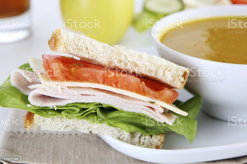 sandwich with soup royalty-free stock photo