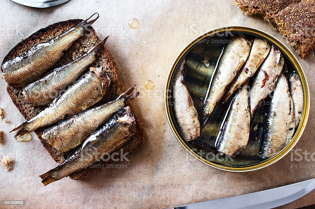 Sandwich with sprats stock photo