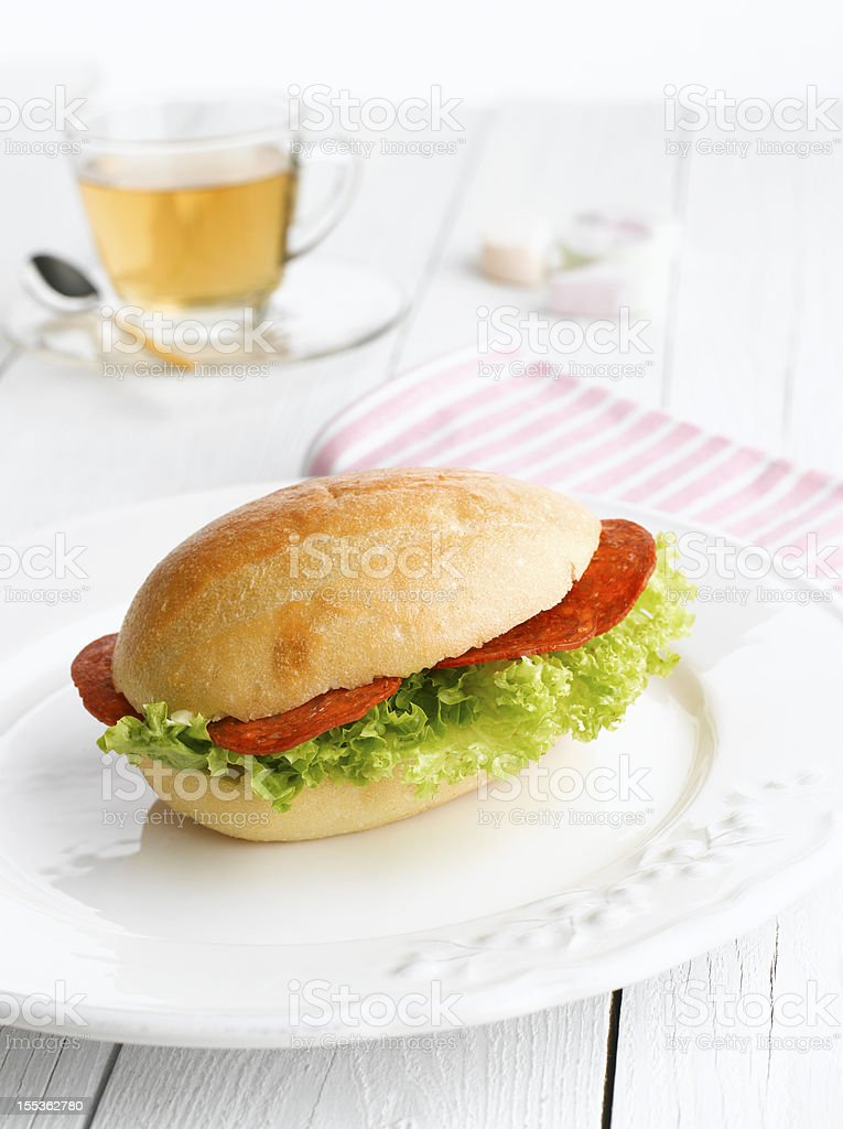Sandwich With Tea royalty-free stock photo