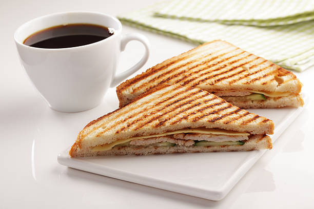 Sandwiches And Coffee Stock Photo - Download Image Now - iStock