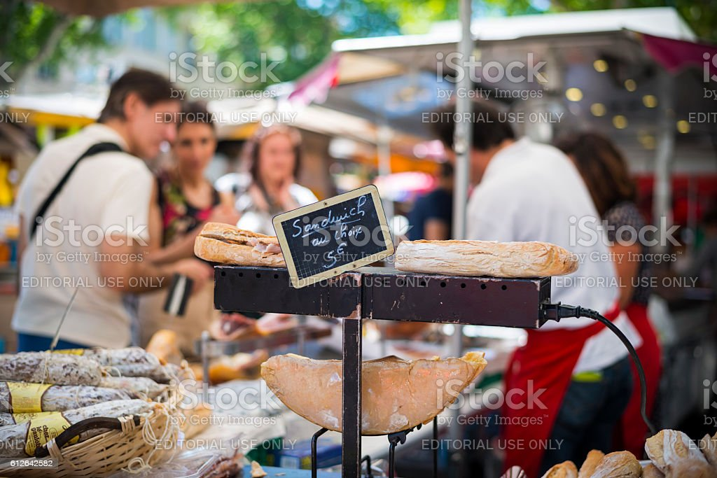 Sandwiches at Sunday market, Aix-en-Provence, France stock photo