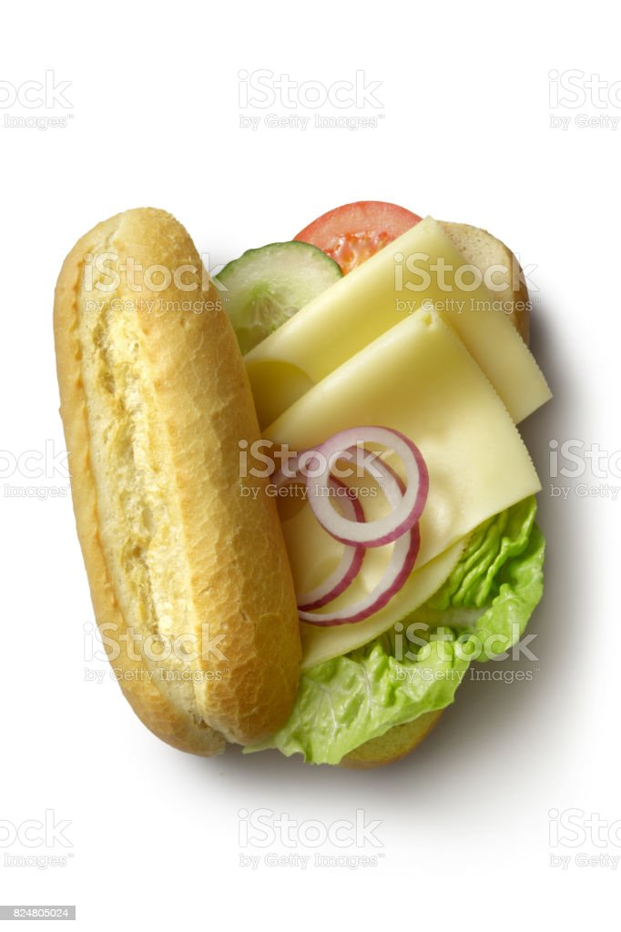 Sandwiches: Cheese Sandwich Isolated on White Background stock photo
